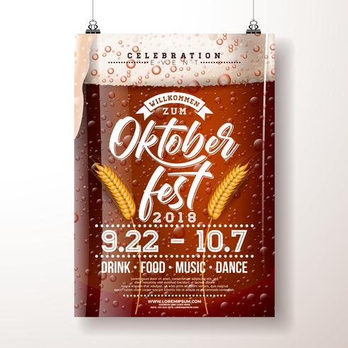 Oktoberfest Party Poster Abbildung. vektor