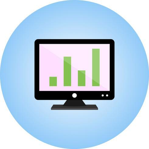Analytics auf flachem Farbverlaufssymbol des Bildschirms vektor