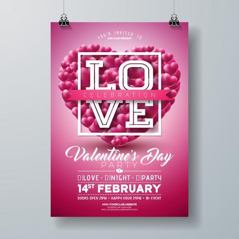 Valentinstag-Party-Flyer-Design vektor