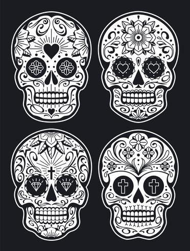 Vektor mexikanische Schädel mit Mustern