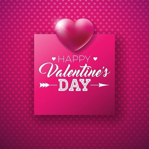 Happy Valentines Day Design mit glänzendem Herzen vektor
