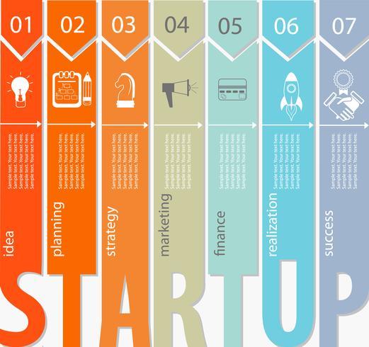 Startkonzept - Infografik. vektor