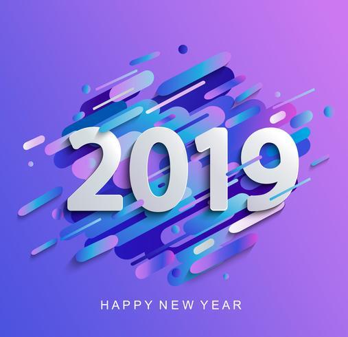 Neues Jahr 2019 auf modernem Steigungsbewegungshintergrund vektor