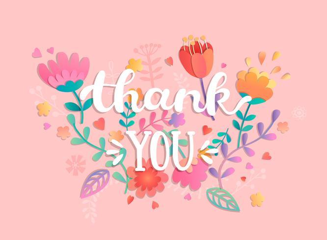 Tack, handskriven inskription med blommor. vektor