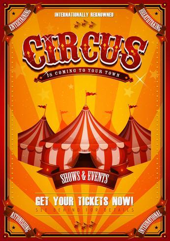 Weinlese-Zirkus-Plakat mit großer Spitze vektor
