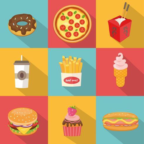Fast-Food-Symbole. vektor