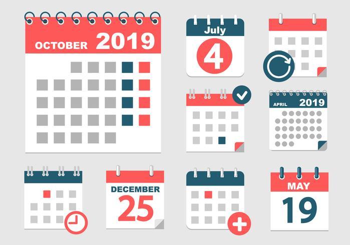 Sats med olika kalendrar. vektor