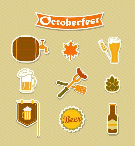 Oktoberfest öl bryggeri ikoner uppsättning. vektor