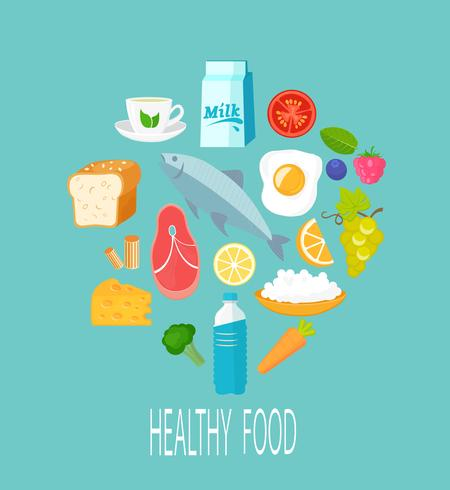 Gesundes Nahrungsmittelkonzept. vektor