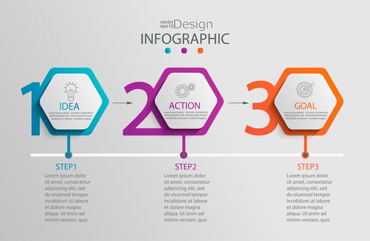 Infographikvorlage aus Papier mit 3 Sechseckoptionen. vektor