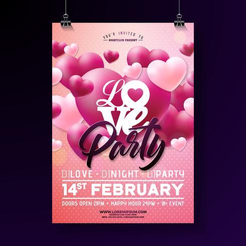 Valentinstag-Party-Flyer vektor
