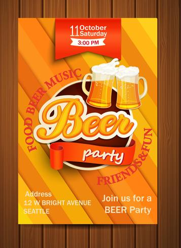 Bier-Party-Flyer. vektor