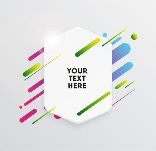 Vector Hintergrund mit Papierkarte und abstrakten bunten Formen. Trendige Neonlinien und Kreistapeten in einem modernen Materialdesignstil.