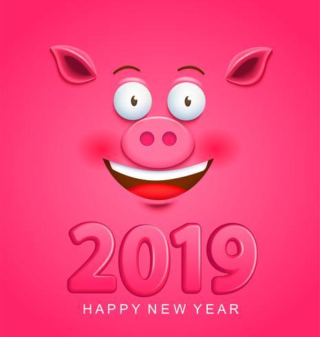 Nette Grußkarte für neues Jahr 2019 mit Schweingesicht vektor