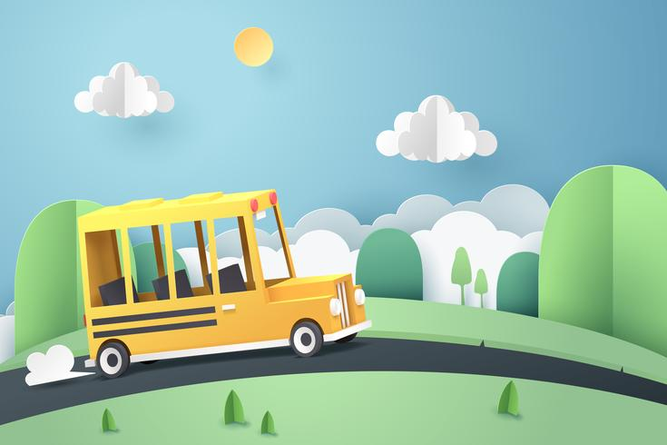 Papierkunst des Schulbusses laufend auf Landstraße, zurück zu Schulkonzept vektor