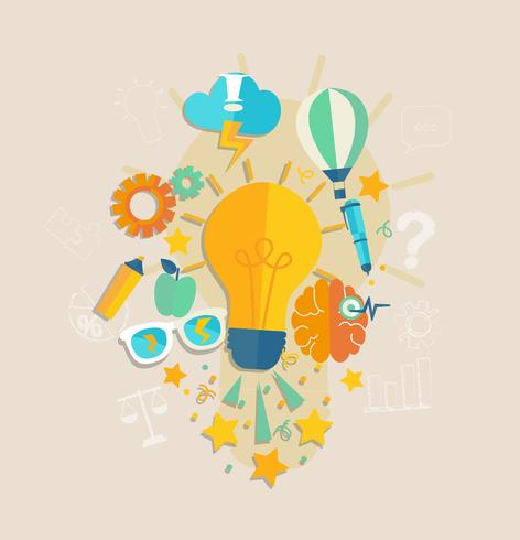 Begreppet idé eller inspiration. vektor
