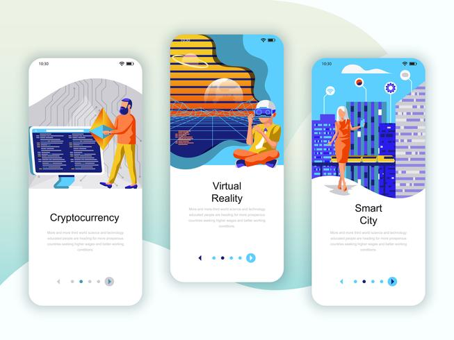 Set von Onboarding-Bildschirmen für die Benutzeroberfläche für Cryptocurrency, Smart City vektor
