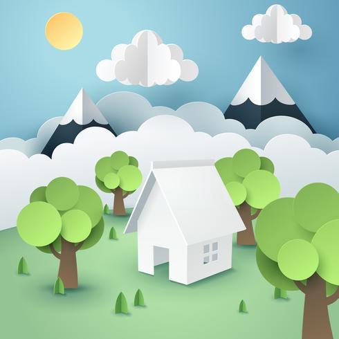 Papierkunst des Baums um Haus, umweltfreundliches umweltfreundliches Konzept der Welt vektor