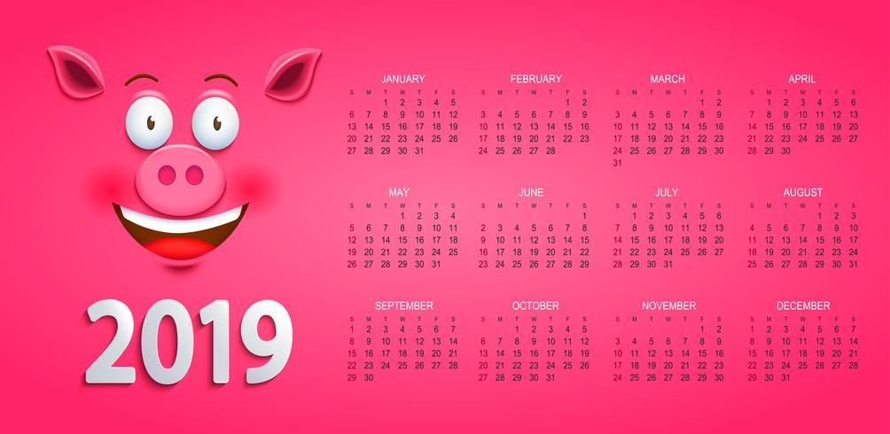 Gullig kalender för 2019 år med gris ansikte. vektor