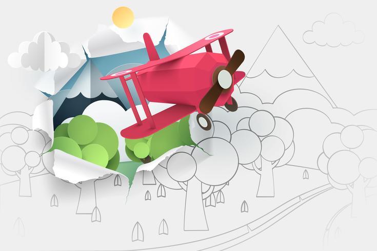 Papierkunst des rosa Flugzeugfliegens durch Papier des Handzeichnungswaldes und -flusses vektor