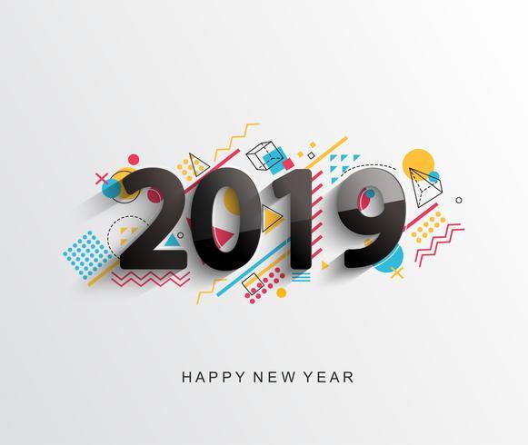 Modernt 2019 designkort. Vektor. vektor