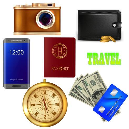 Set des Reisenden. Kamera, Geld, Pass vektor