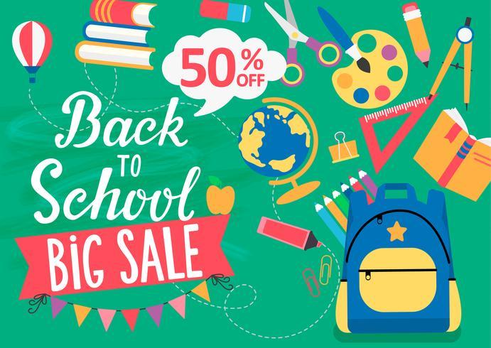 Banner Back To School großer Verkauf, 50% Rabatt. vektor