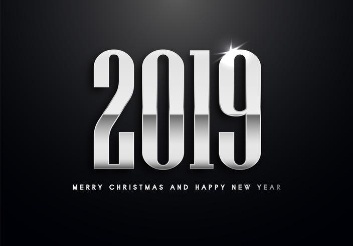 Vektor-Grußillustration des Feiertags 2019 mit silbernen Zahlen. vektor