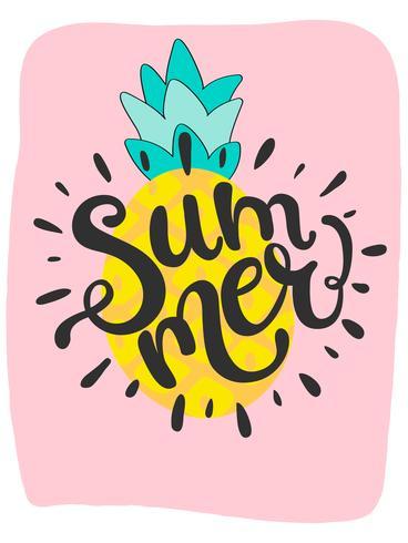 Nette helle Sommerkarte mit Ananas und handdrawn Wortsommer vektor
