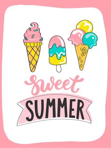 Helle Sommerkarte mit süßer Sommereiscreme und handdrawn Beschriftung vektor