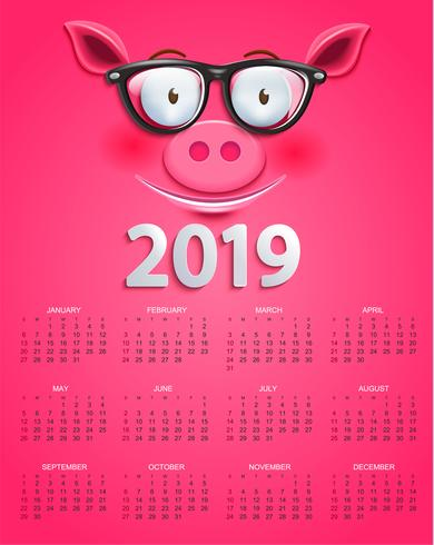 Gullig kalender för 2019 år med smart gris ansikte vektor