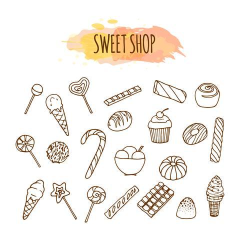 Süßigkeitenladenelemente. Süßigkeiten und Bonbons skizzieren. Gebäck Abbildung. vektor