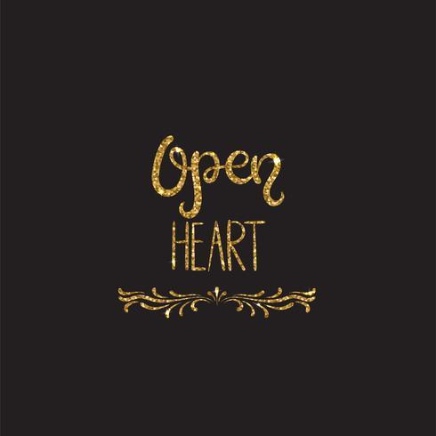 Öppet hjärta. Romantisk bokstäver med glitter. Gyllene gnistrar vektor