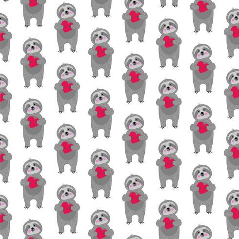sloth mönster med röda hjärtan vektor