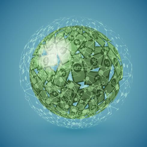 Grön jordklot gjord av pengar, vektor illustration
