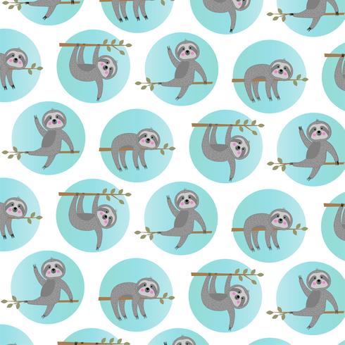 sloth mönster med blå cirklar vektor