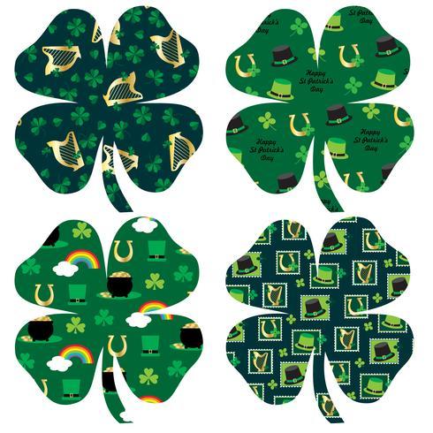 Sts Patrick dag mönstrade shamrocks vektor