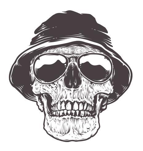 Schädel in Hut und Sonnenbrille vektor