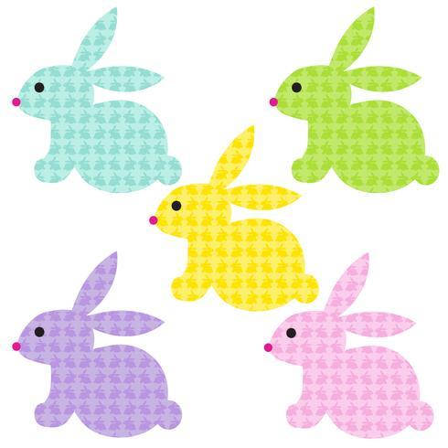 Påskkaniner med kaninmönster vektor