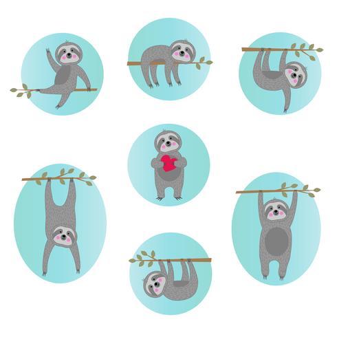 söta sloth vektor illustrationer