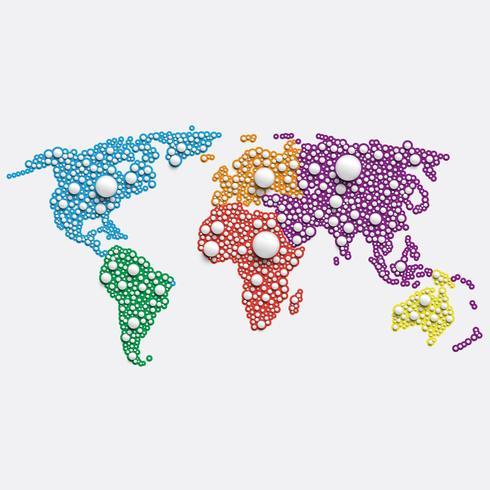 Vit världskarta gjord av bollar, vektor illustration
