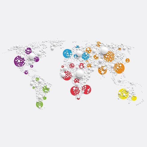 Weiße Weltkarte gemacht durch Bälle, Vektorillustration vektor