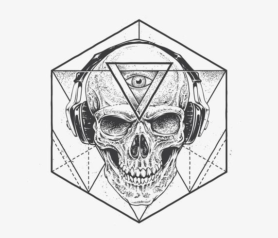 dotwork skalle art vektor