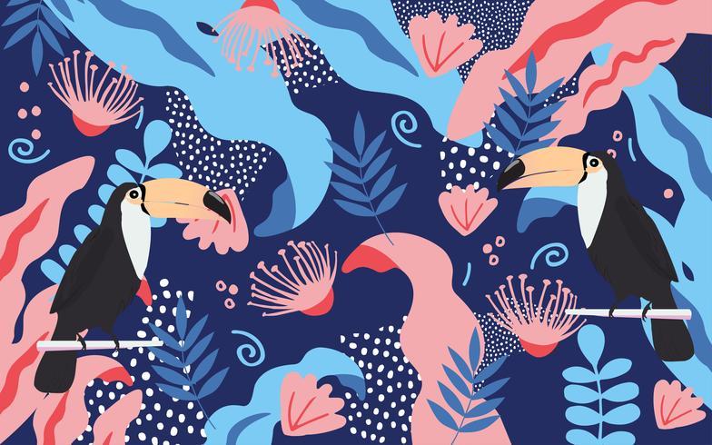 Tropiska djungelbladen och blommoraffischen bakgrund med toucan vektor