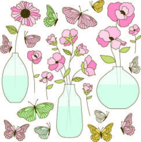 handgezeichnete Blumenvasen und Schmetterlinge vektor