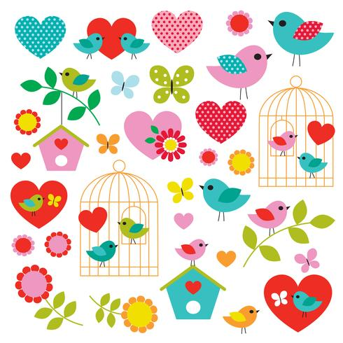 Vogel Valentine Clipart vektor