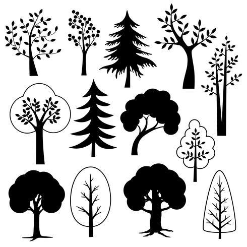 träd silhuetter vektor