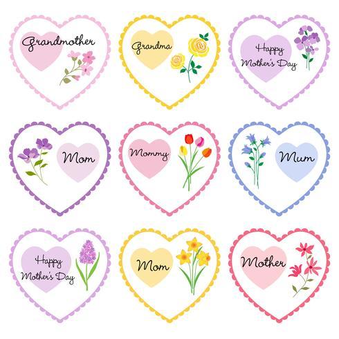Muttertagsherzen mit Blumen vektor