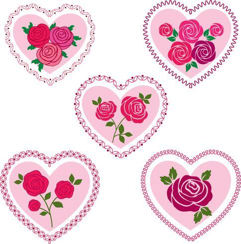 ros valentin hjärtan clipart vektor
