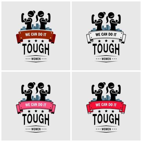 Tuffa tjejer eller starka kvinnor logotyp design. vektor
